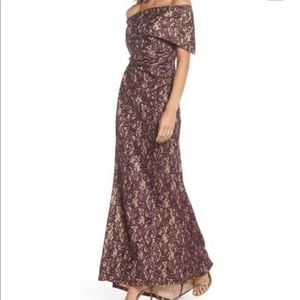 Vince Camuto Sequin Off the Shoulder Gown Wine 2P